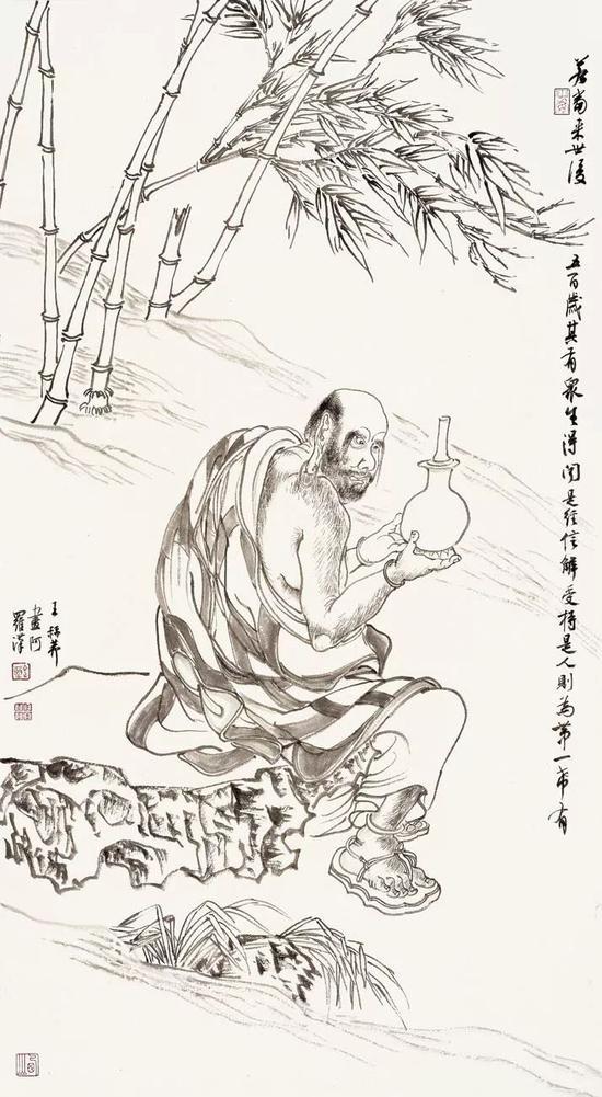 王赫赫 罗汉图 90×50cm 纸本水墨