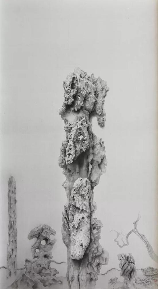 《仙人峰》 2017年 绢本水墨 99.5x184cm