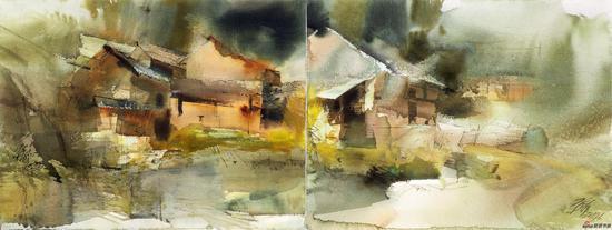 平龙 青山在 56×76cm×2 水彩画