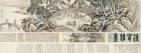 谢时臣 春宵雅集设色纸本 手卷 引 首 :30×100 cm 画心:29.6×127.5 cm 后纸:30×615 cm