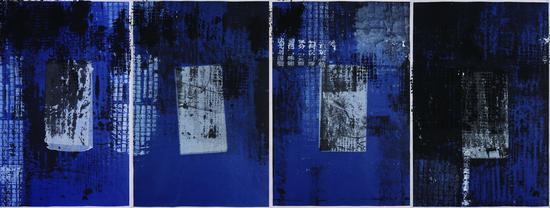 陈心懋 《蓝色史书》系列 宣纸、水墨、丙烯 多幅组合 70cm X 50cm X 4cm 2009年