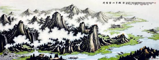 我爱云山多雄奇(100×220厘米,2009年)