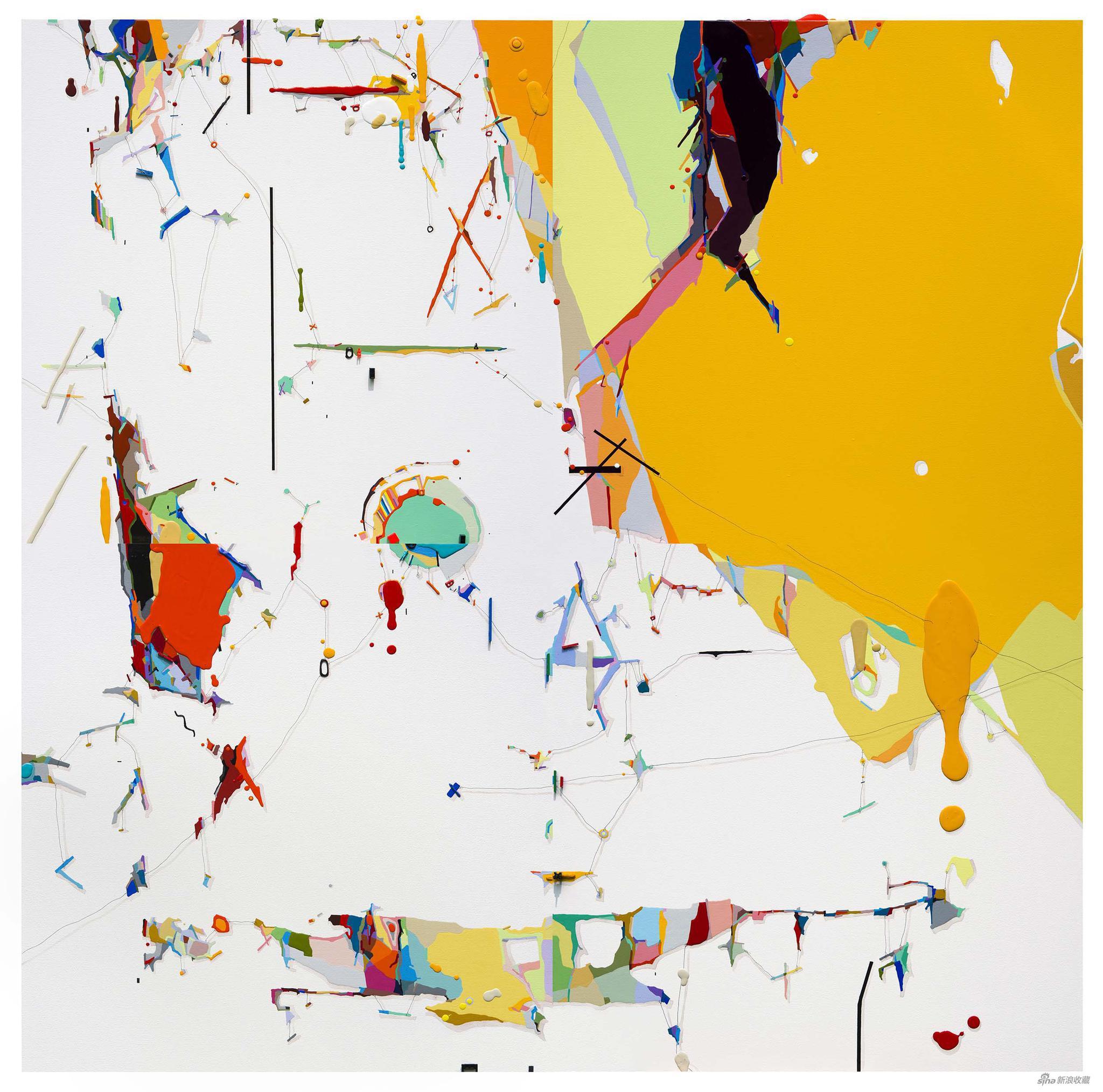 朱佩鸿 《我的空间-绿洲 2015-1》 160×160cm 布面丙烯 2015