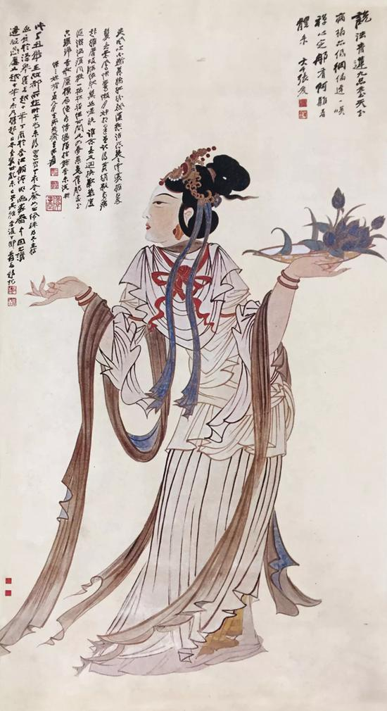1937年《天女散花图》丁丑本,大风堂收藏