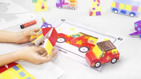 彩绘城镇立体纸模型