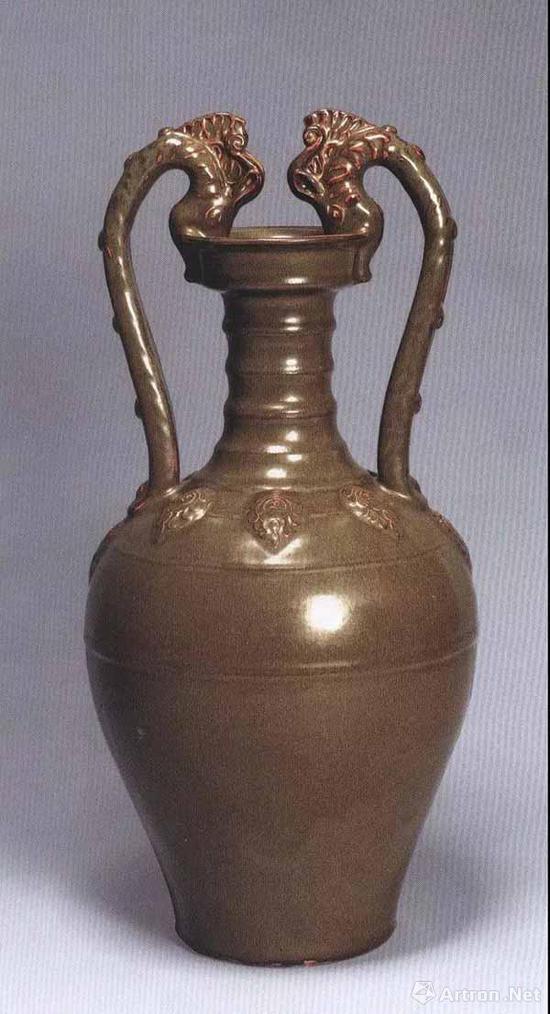 清雍正 茶叶末釉双龙柄壶 高51.8厘米