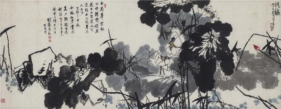 崔如琢与刘海粟合作 《清秋》 140x359cm 1983年