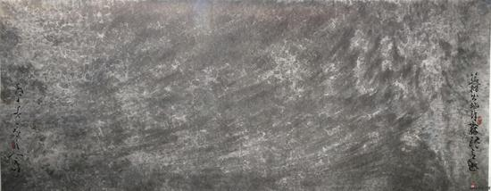 蕰籍出些许灵魂意趣 海上美景之笔 纸本水墨 300X120