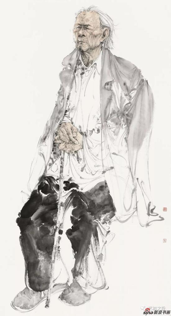 姜永安《刘知白肖像2》180cm×97cm 2017年