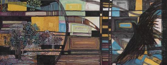 《五月的楼兰》 145x367cm 2016年 纸本设色