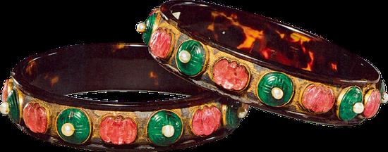 清 玳瑁镶金嵌珠宝镯