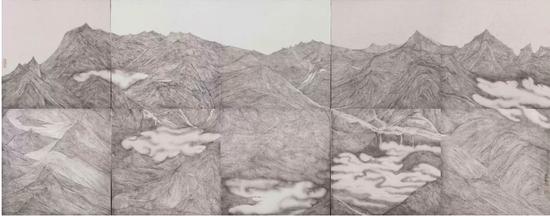 《云序》250×100cm,绢本水墨 2018