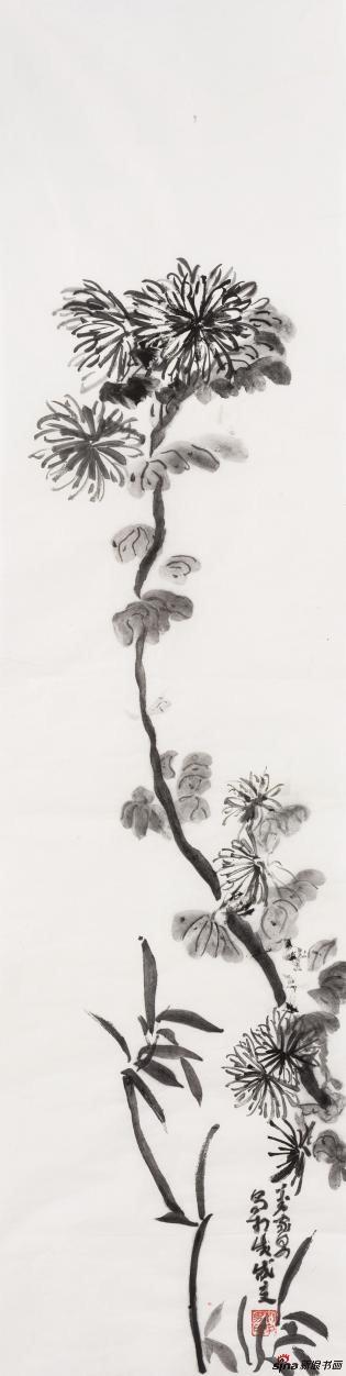 《菊花图》 Chrysanthemum figure 115×45cm 纸本水墨 2018