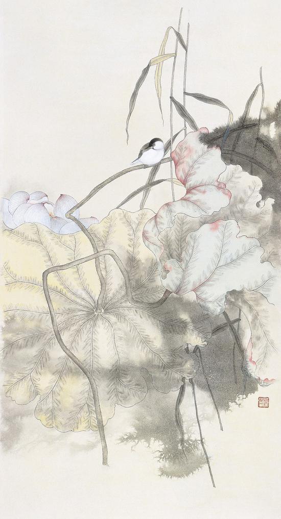 刘英《清露》96cm×50cm  纸本设色  2015年