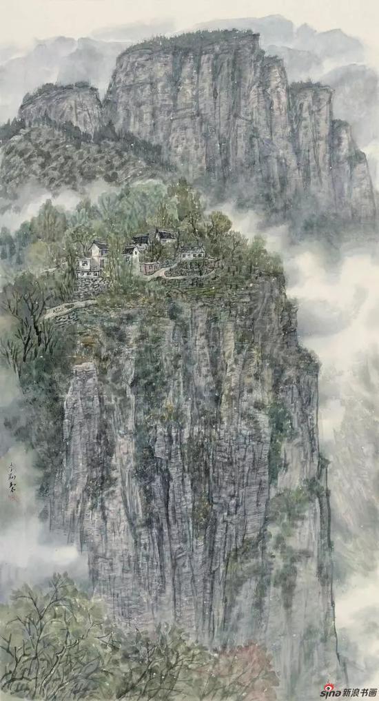 《白云绕山寨 岚花映古塞》 160cm x 87cm   李 翔