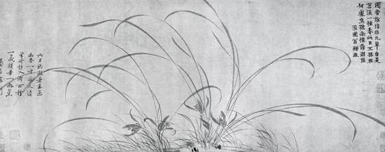 现藏北京故宫博物院的赵孟坚《墨兰图卷》