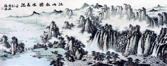 江山永固水长流(146×364厘米,2012年,应邀为人民大会堂创作)