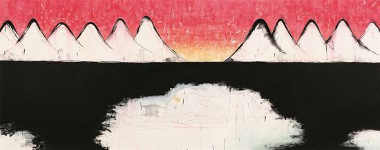 魏青吉   南极计划——游泳    宣纸、水墨   146×360cm  2015