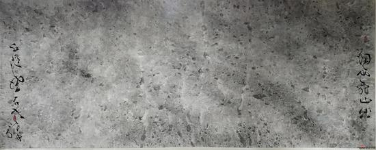 烟雨乱山出 水随风石入 景在平 纸本水墨 300X120