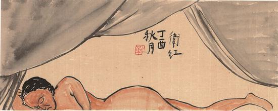 靳卫红 《独自》 纸本水墨 15×38cm 2017