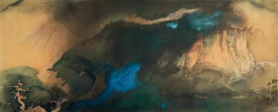 张大千 《溪桥晚色》   1970年作   设色绢本 镜框   66×165cm