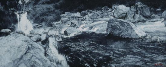 水落溪涧-布面油画-60cmX160cm-2014