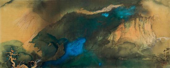 张大千 溪桥晚色   1970年作   设色绢本 镜框   66×165cm