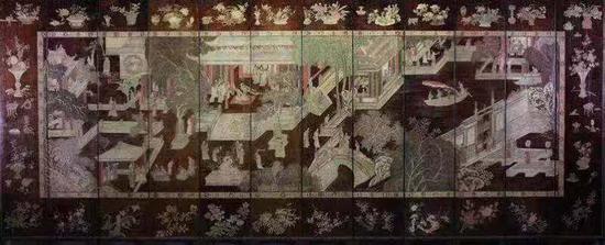 《大漆款彩寿屏12扇一套》51×254cm×12扇 约1700年