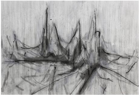 刘永涛 《忘城图-170804》 56×80cm 皮纸墨汁 2017
