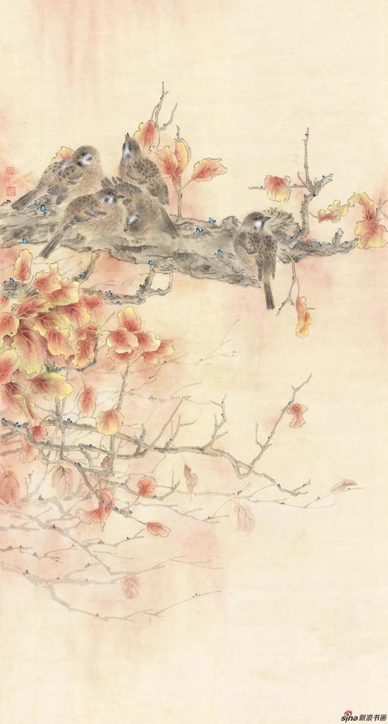 瓦雀棲枝圖 林琳 國畫