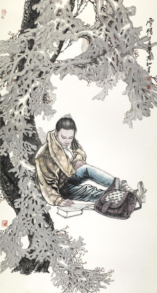 雪情 纸本水墨 180X90 2007年