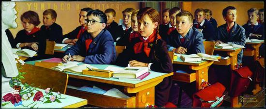 诺曼·洛克威尔的《苏联教室》(斯皮尔伯格藏)