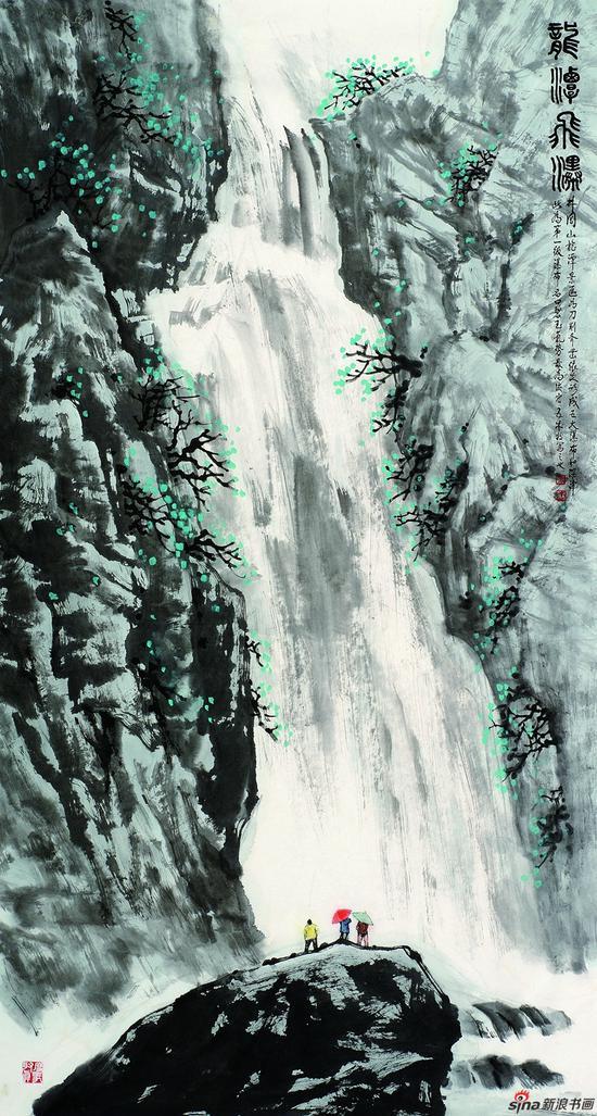 王林森作品《龙潭飞瀑》97X180cm 2011