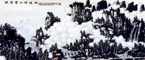 快意云山任挥洒,(69×136厘米,2010年)