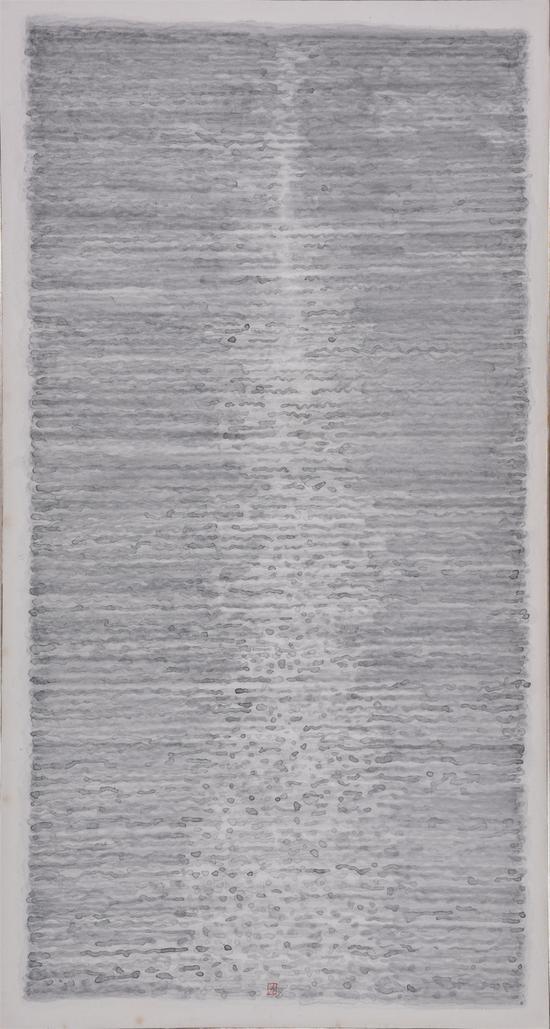 陈九,《 墨积春水》, 纸本水墨,186x100cm,2016