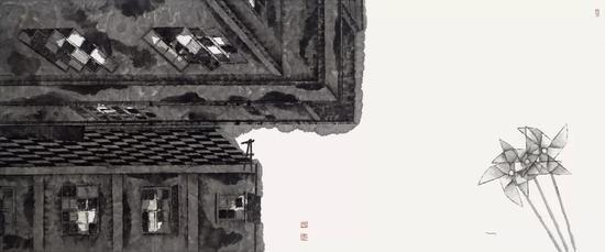 《和谐记忆·风车》 国画 75cm×180cm 2017年