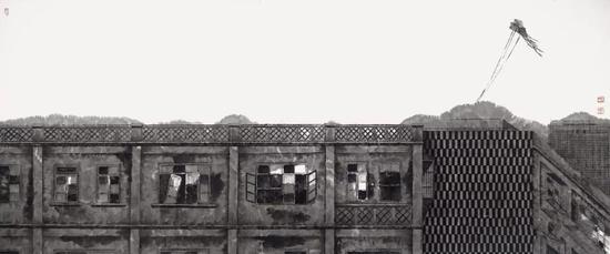 《和谐记忆·风筝》 国画 75cm×180cm 2017年
