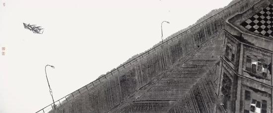 《和谐记忆·船》 国画 75cm×180cm 2017年