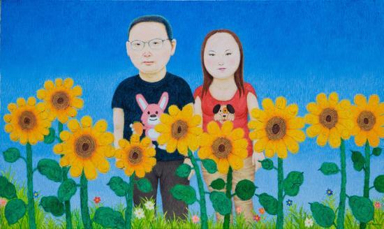 张开溪《走过一片葵花地》60×100cm,布面油画,2018年
