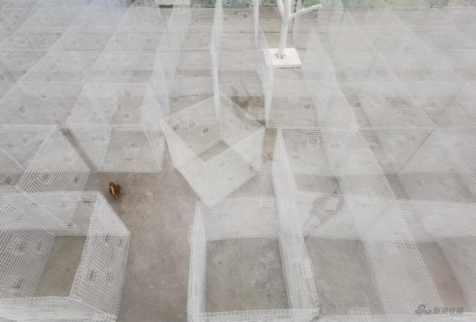 何多苓、师进滇 《围》 装置,白色铁丝网 500×500×100cm 2020