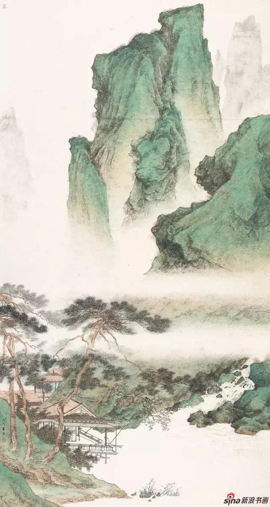 《临溪水阁》 纸本设色 179×96cm 2018年