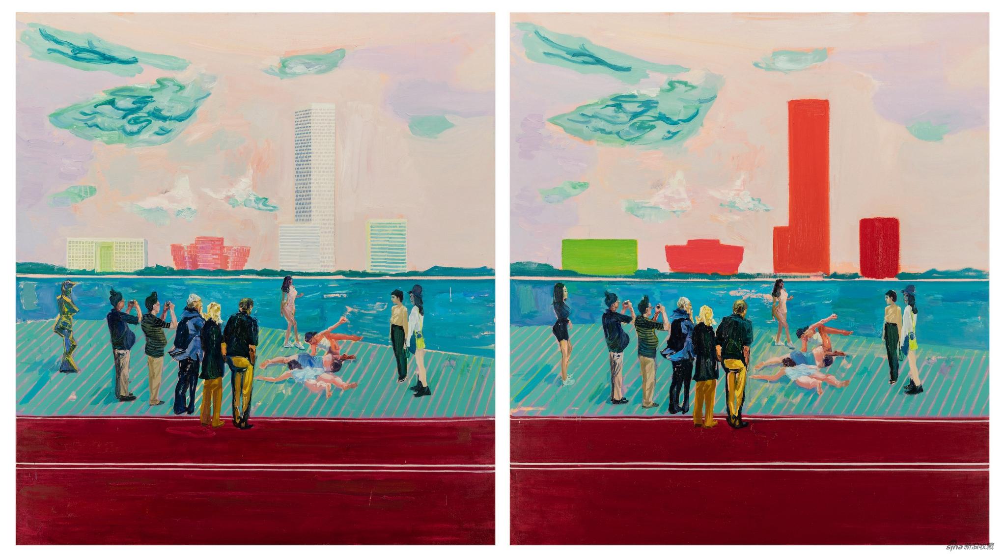 西岸,布面油画,200 × 180 cm × 2,2020-2021