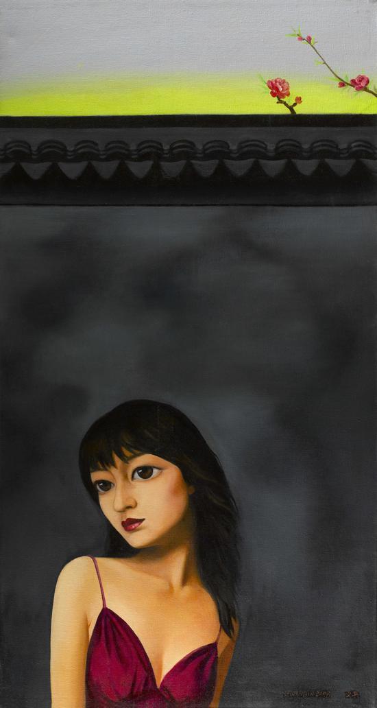 《桃花-3》Peach blossom布面油画 150x 80cm2007