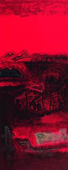 肖素红作品 地壳运动系列之一纸本水墨 200x66 2018
