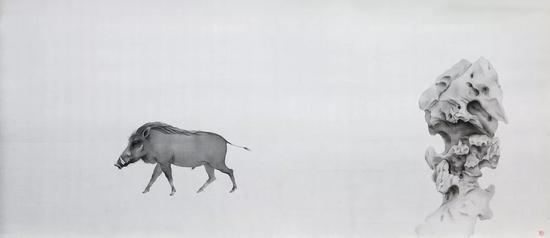 《行者》 2018年 绢本水墨 155x68cm