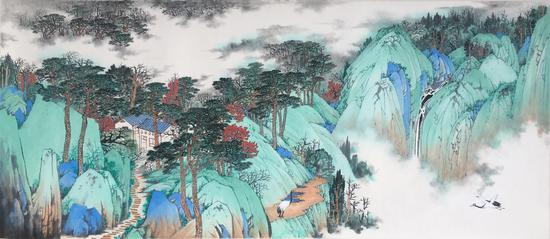 沂山高隐图45x102cm常潇作品