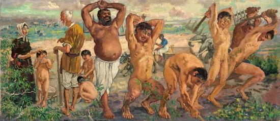 徐悲鸿 愚公移山 1940 年 布面 油画46×107.5 cm