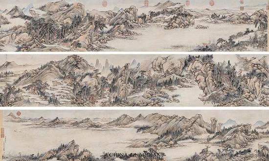 钱维城(1720-1772)钱维城(1720-1772)  富春秋色  手卷 设色纸本  36.5×562.5 cm