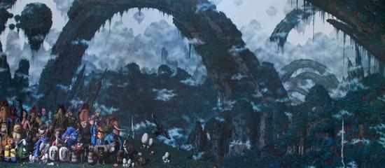 李永祥《潘多拉-八岐大蛇》 140×352cm 布面油画 2016
