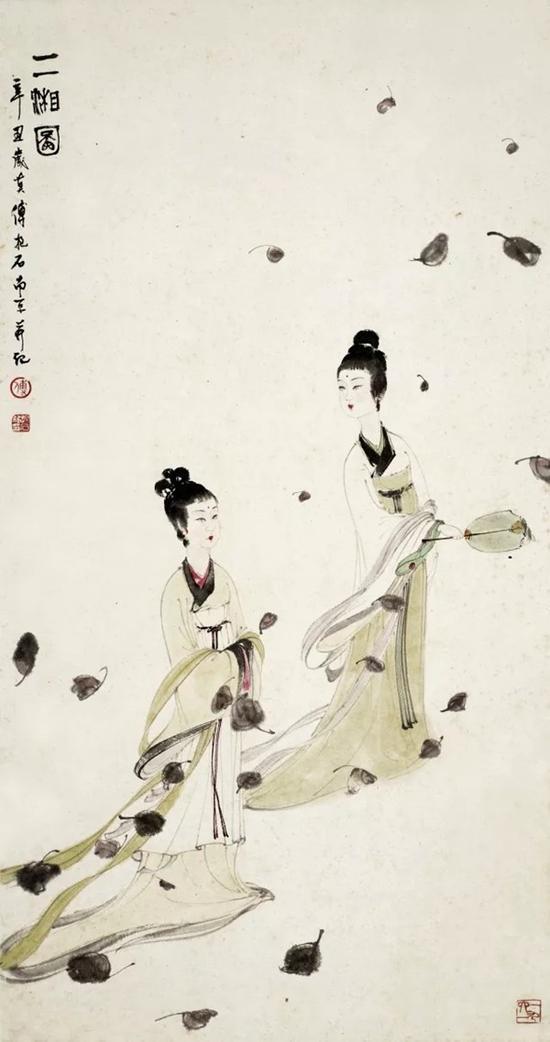 傅抱石 二湘图   设色纸本 立轴   1961年作   89×46.5cm   成交价:RMB 13,225,000